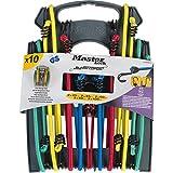 Master Lock 3043EURDAT Kit assortimento 10 Corde Elastiche Twin Wire con Supporto Gancio invertito Doppio Filo, Verde, Giallo, Rosso, Blu
