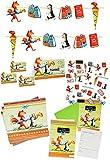 XXL Set: Servietten + Tischkarten + Einladungskarten incl. Umschlag + Streumotive + Girlande -