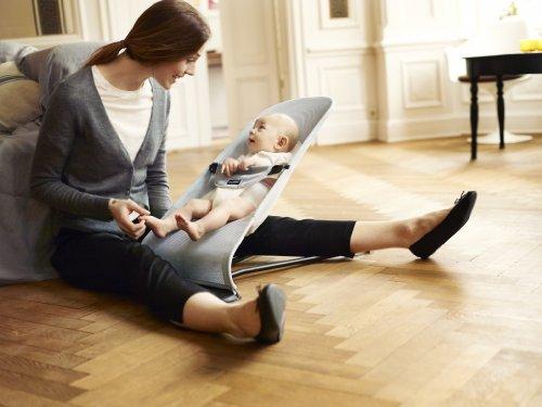 BABYBJÖRN Babywippe Balance Soft (Silber/Weiß, Netzmaterial)