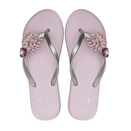 Flop Sandalen Hausschuhe Zehentrenner Sommerschuhe(37 EU, BT9904-pink) ()