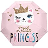 Feliz cumpleaños Cute Cat Princess Auto Open Umbrella Sun Rain Umbrella Anti UV Folding Compact Automatic Umbrella