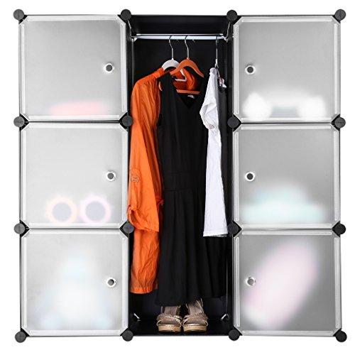 LANGRIA Stufenregal 9-Kubus Regalsystem Lagerregal Kleiderschrank Garderobenschrank für Kleidung, Schuhe, Spielzeug und Bücher