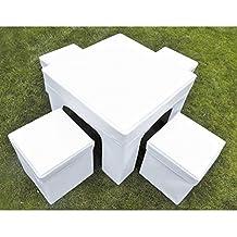 Puff plegable mesa y taburete, Conjunto puff, Conjunto Mesa y puff Suit - blanco