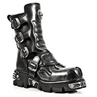 New Rock Newrock 591-S2 Silver Flame Metal Black Leather Heavy Punk Gothic Boots