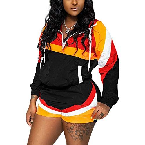 Tidec Damen 2-teiliges Outfit Colorblock Windbreaker Jacke Pullover Tops und Shorts Sweatsuits Trainingsanzüge Set Outfits Gr. 38 DE Etikett X-Large, Schwarz -
