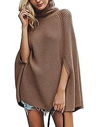 7e39be428fc19 Lisli Cape Tricoté Col Haut Pull Ample Manteau Pèlerine Tricotage Couleur  Unie à la Mode Femme