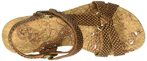 Panama Jack Violetta Snake, Sandales Bout Ouvert Femme Marron (Bark)