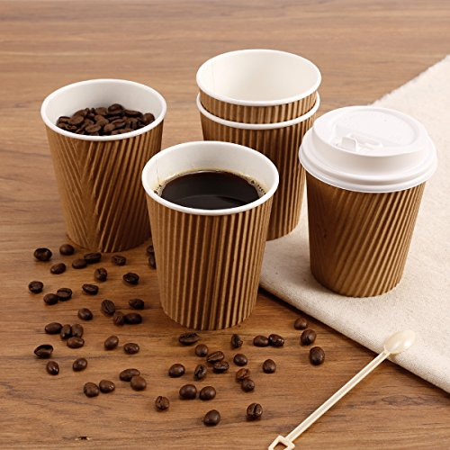 8/12/isoliert Ripple Einweg Papier Kaffee Tassen, braun, 100W Deckel, 340,2 g (12 oz) (Kaffee 12 Tassen Einweg)