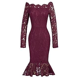 GRACE KARIN Spitzenkleid Langarm lang sexy Kleider elegant Damenkleider Vintage Etuikleider S CL405-1