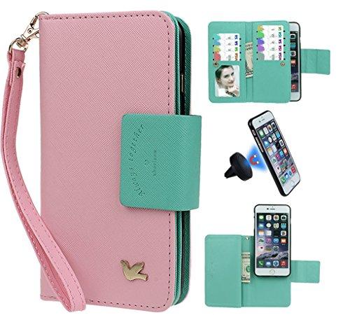 """xhorizon [Aktualisiert] [Luxusgold] [Erklassig] [Magnetisch Auto Mount Kompatible] Premium PU Leder Magnetisch Abnehmbar Mappen Kasten Abdeckung mit Kartensteckplätze Auto-Funktionen iPhone 7 (4.7"""") rosa+schwarz Kfz-Halter"""
