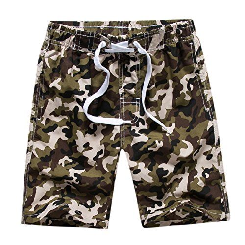 Echinodon Jungen Badehose Badeshorts Camouflage Sweatshorts Urlaub Strand-shorts Armeegrün