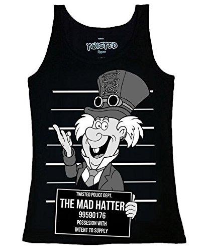 Twisted - Rockabilly Damen Top - Mad Hatter Shot (Schwarz) (S-L) (Mad Hatter Frauen)