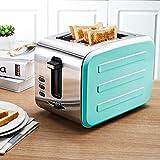 DZW 2 Slice Retro Toaster • 2 Slots • Automatische Einstellung • 800 W • Abtauung • Auftauen und Aufwärmen • Edelstahl • Abnehmbarer Krümelbehälter • Vierfarbig , blue Multifunktion