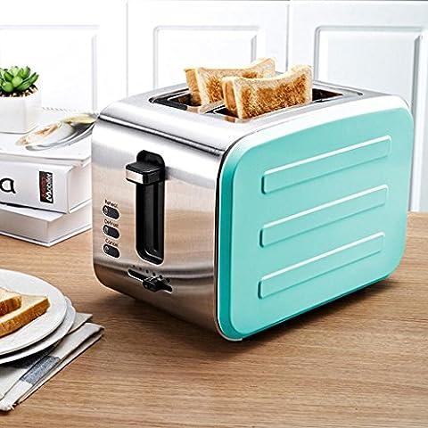 MNII 2 Slice Retro Toaster • 2 Slots • Automatische Einstellung • 800 W • Abtauung • Auftauen und Aufwärmen • Edelstahl • Abnehmbarer Krümelbehälter • Vierfarbig , blue