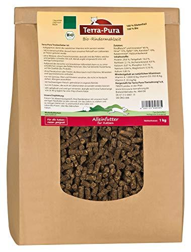 Terra Pura Trockenfutter für Katzen, Bio Rindermahlzeit, Alleinfuttermittel, 1000 g -