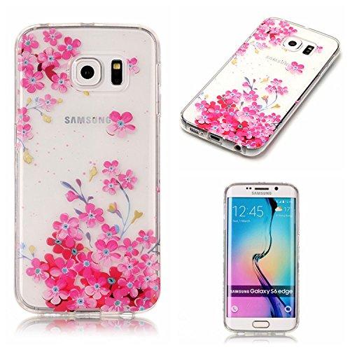 Coque Samsung Galaxy S6 Edge TPU Case Cover Absorption de Choc Hull, Vandot Samsung Galaxy S6 Edge Etui Silicone Souple Transparente Case Très Légère Housse Ajustement Parfait Coque pour Samsung Galax C-Fleurs Rose