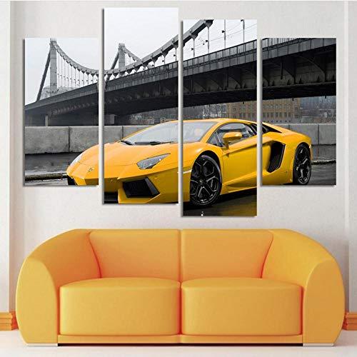 fydzyz Leinwand stück Kunstdruck 2019 Mode Sport Auto malerei Dekoration für Wohnzimmer 4 stücke hd wandkunst Bild Bett Zimmer leinwand malerei un -