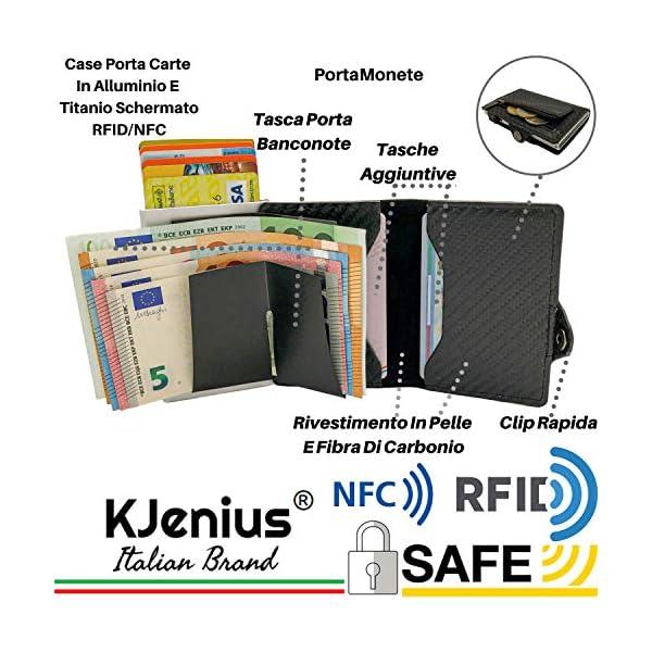 Portafoglio Porta Carte Di Credito Uomo Donna Pelle Fibra Di Carbonio Protezione RFID NFC Antifrode Sottile Slim Zip… 2 spesavip