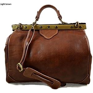 Damen leder doktor bag doctorbag handtasche shultertasche gürteltasche hüfttasche umhängetasche traget ledertasche klar braun