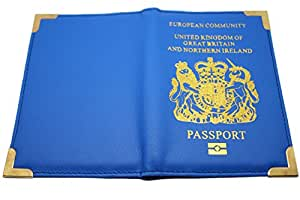 Real Leather British Passport Cover in Blue
