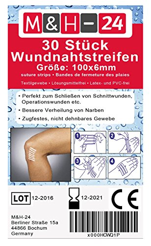 Klammerpflaster Set/Wundnahtstreifen-Strips Nahtmaterial Wundverschluss-Streifen Steril 6 x 100 mm (Weiß, 30 Stück)
