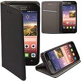 Moozy® Flip cover Funda tipo libro Smart magnética con Stand plegable para Huawei Ascend 620s en el soporte de silicona, Negro Frc