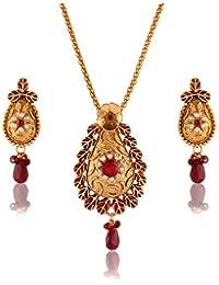 Variation Maroon Red Stone Meenakari Traditional Wedding Pendant Set For Women-VD16188