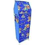 Amakart 6 Shelves Plastic Baby Folding Wardrobe/Toy Box with Wheels – Dogy (Blue)