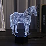 Kivvo Einhorn Nachtlicht Kinder LED 3D Lampe Schreibtischlampe Wechselnde Farben