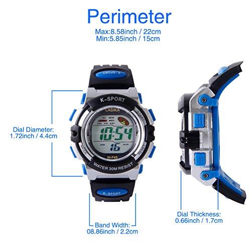 Hiwatch Kids Watch Girls Boys Digital Sport Waterproof Wrist Watches with Alarm Stopwatch (Blue)