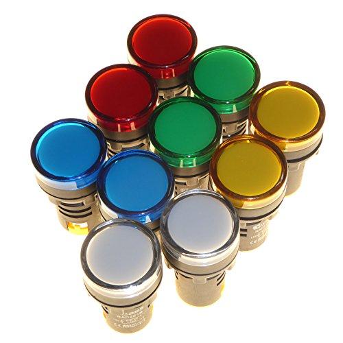 10x 230V LED Pilot Lampen 22mm Panel Mount IP65Wetterfest rot Bernstein blau grün weiß Europa - Rot Pilot Lampe