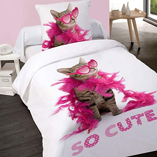 LINGE USINE Housse de Couette 140 x 200 + 1 Taie So Cute Chat Coton