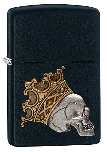 Styler Iconic (zippo - ZIPPO König Skull PLATE RELIEF AUF GOLDENER MATT SCHWARZ LACK)