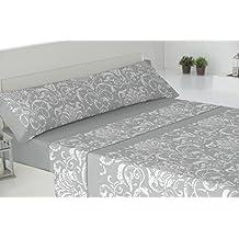 Todomueble-Pierre Cardin Zephir - Juego de Sábanas para cama de150, compuesto por bajera, encimera y funda de almohada, color Gris