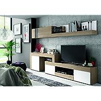 Mobelcenter - Mueble Salón Logan 003 - Blanco y Cambrian - 270x39x77cm (0478) + Envío Gratis