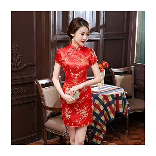 PLOPYSE& Women Traditional Dress Cheongsam Mini Sexy Qipao Flower Wedding Dress Plum Blossom-Red M - Little Lady Flower Girl Dresses