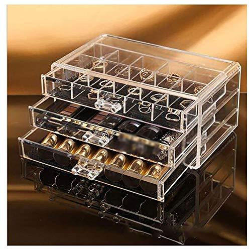 LMM Schublade-Kunststoff-Kosmetik-Aufbewahrungsbox, transparente staubdichte Desktop-Hautpflege-Aufbewahrungsbox, geeignet für Badezimmer, Schlafzimmer, Schmuck und Parfüm -