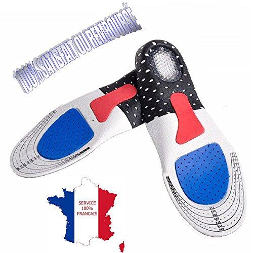 KWIM'S France  Semelles ORTHOPÉDIQUE, Semelle Gel Sport - Semelle Chaussure Amorti Les Chocs et soulage Les épines calcanéennes pour Un Confort Optimal (40-44 [Grande Taille])