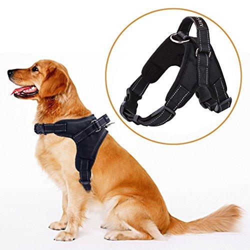 MerryBIY Hundegeschirr Heavy Duty Big Hunde Geschirr Verstellbar Pet Dog Vest Harness Welpengeschirr Weich Gepolstertes Mittlere Große Hund Brustgeschirr Weste für Training oder Walking (Schwarz, L)