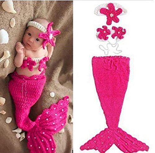 Jastore® Infant baby Rose Meerjungfrau Kostüm Fotografie Hut Set Handarbeit Häkelarbeit (Meerjungfrau Kostüm Babys)