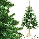 MW.Shop.24 Weihnachtsbaum Fichte Natur (180cm) Christbaum künstlich im Topf Jute FICHTE NATURSTAMM Baumstamm aus Echtem Holz Tannenbaum