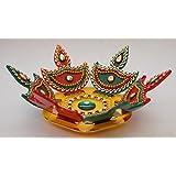 iKreation Acrylic 3D Diya Rangoli, Small (Multicolour, DSC00435)- 7 Pieces