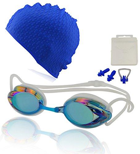 Occhialini da nuoto »Harpoon« + cuffia + tappi per le orecchie + stringinaso + 100% protezione raggi UV + anti-appannamento. Silicone di pregiata qualità + confezione rigida. AF-2000m, blu