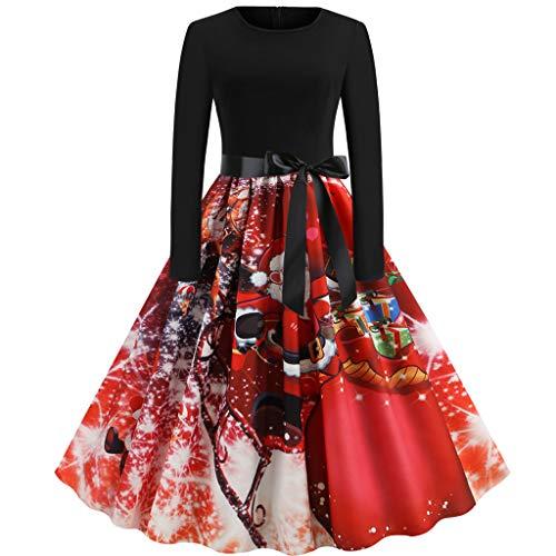 Weihnachtskleid Damen BIKETAFUWY Vintage Hausfrau O-Ausschnitt Kleid Weihnachtsdeko Cocktailkleid Abendkleid Kleidung Weihnachtsmann Elch Schlitten Party Swing Festlich Kleid