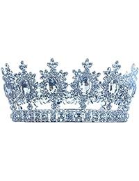 Hombre Pageant Tiara Imperial Full Circle redonda de plata King Crown