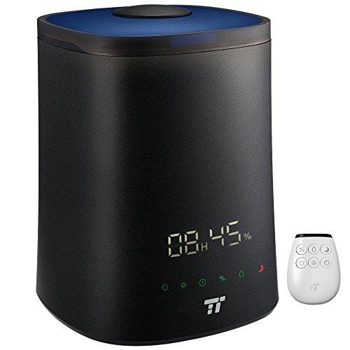 Ultraschall Luftbefeuchter TaoTronics Aroma Diffuser 4,5L mit Fernbedienung, Feuchtigkeit Einstellbar, 7-farbige Nachtlicht, 3 Vernebelungsstärken, Timer, mit Kostenfreier Reinigungsbürste