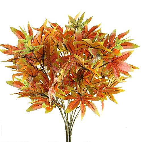 Nahuaa Plante Artificielle 2 Pcs 5 Forks Plantes Plastique Feuille D'érable Rouge Fausses Plantes pour Intérieur, Extérieur, Maison, Bureau, Mariage, Jardin, Balco