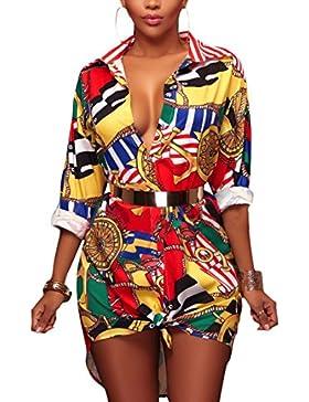 Camisas Mujer De Vestir Verano Elegantes Manga Larga De Solapa Un Solo Pecho Moda Impresión Floral Hawaiana Blusas...