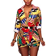 Targogo Camicia Hawaiana Donna Estivi Maniche Lunghe Risvolto Monopetto  Camicette Elegante Moda Giovane Shirt Tops con 4547c2b643c