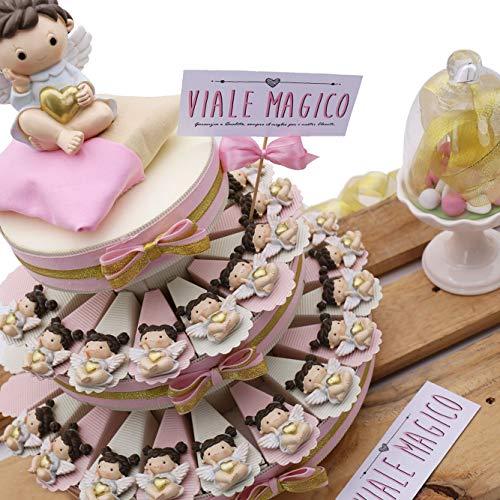 Vialemagico torta bomboniere angelo con cuore bimba calamita per battesimo 35 fettine